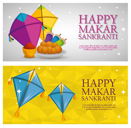 set happy makar sankranti with kites design vector illustration
