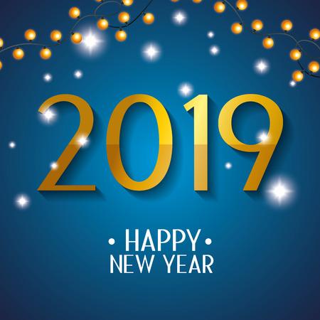 new 2019 year celebration event with lights vector illustration Illustration