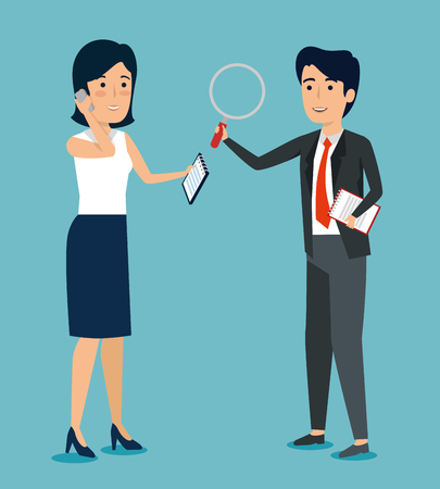 businesspeople teamwork strategy plan information vector illustration