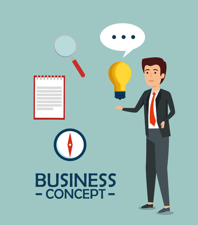 businessman with bulb plan and chat bubble vector illustration