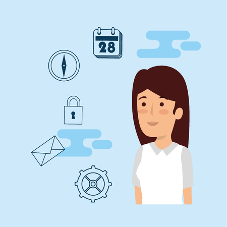 businesswoman with calendar business information and gear vector illustration