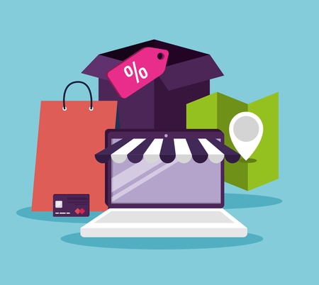 ecommerce with laptop to shopping online technology vector illustration Illustration