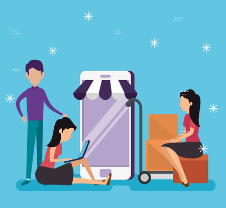 women and men shopping online with smartphone technology vector illustration Stock Vector - 126788373