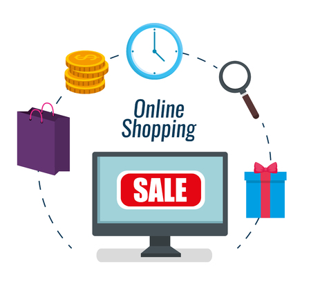 set computer ecommerce to shopping online vector illustration