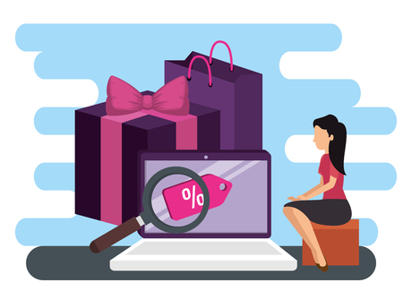 woman and laptop ecommerce with packages online market vector illustration