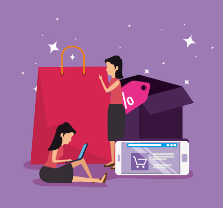 shopping online and women with smartphone ecommerce vector illustration Stock Vector - 126788377