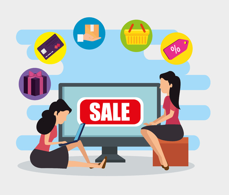 women with computer ecommerce technology to sale vector illustration