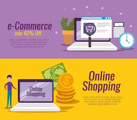 set laptop technology to digital store vector illustration