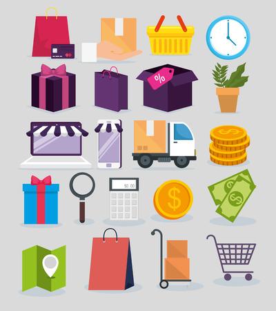 set shopping online with delivery service location vector illustration Ilustração