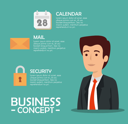 businessman with calendar and message information strategy vector illustration