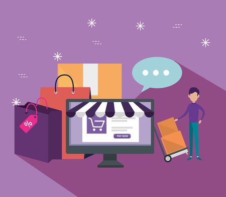 shopping online with computer and ecommerce sale vector illustration