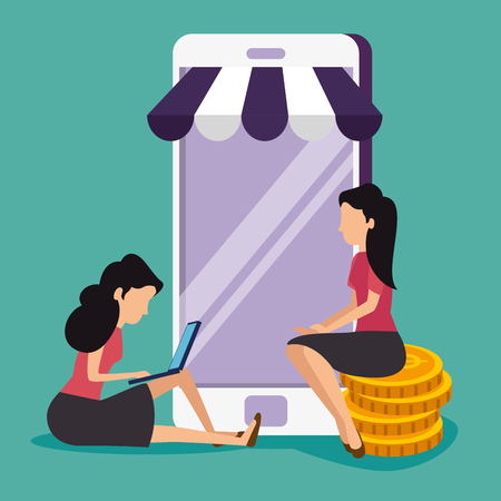 women with smartphone and taptop technology to online sale vector illustration