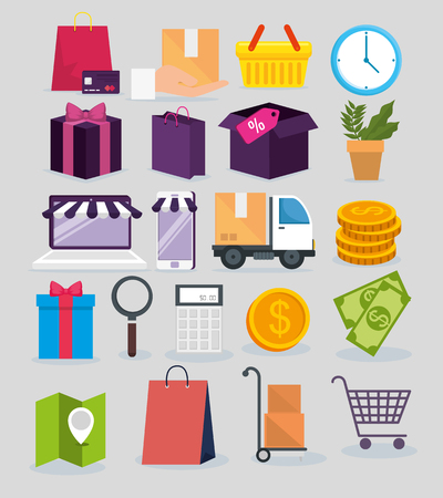 set shopping online with delivery service location vector illustration 向量圖像