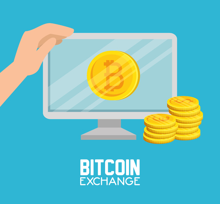computer bitcoin with coins currency and hand vector illustration