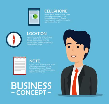 businessman with document information and statistics graphic vector illustration Vektoros illusztráció
