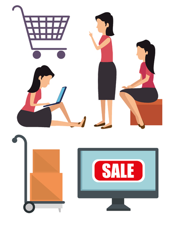 set woman with packages and online shopping in the computer vector illustration