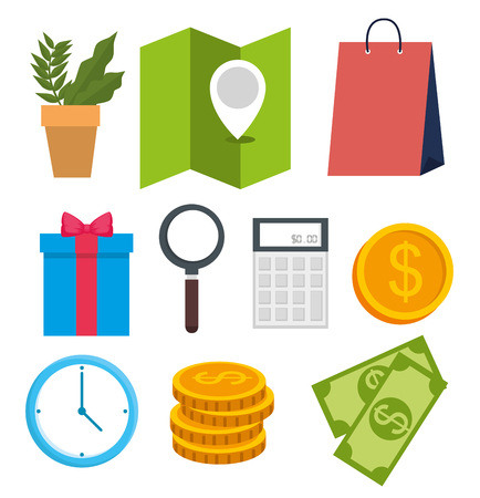 set online shopping technology with location and ecommerce vector illustration