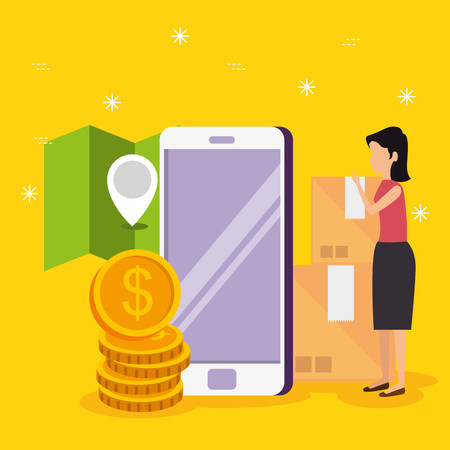 woman with smartphone ecommerce technology and location vector illustration