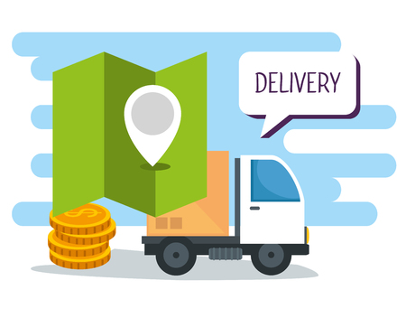 shopping online and delivery with location and coins vector illustration
