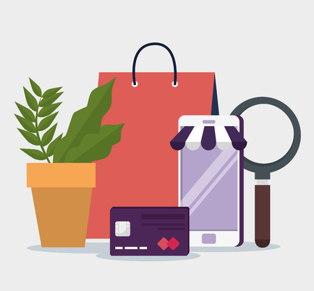 ecommerce with smartphone shopping online and credit card vector illustration Illustration