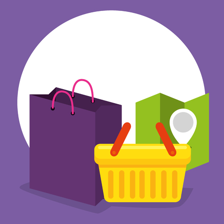 shoping online basket with location and sale vector illustration Illustration
