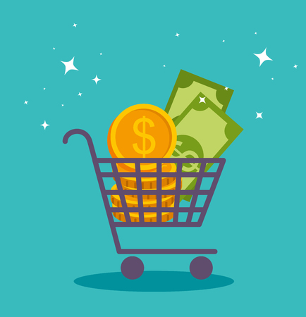 shopping online cart with bills and coins vector illustration