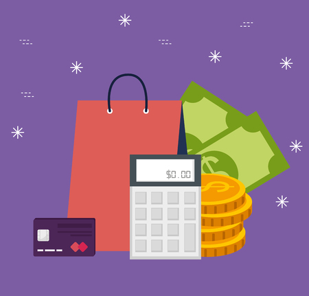 shopping online bag with bills and coins vector illustration