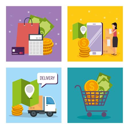 set smartphone technology to digital store vector illustration