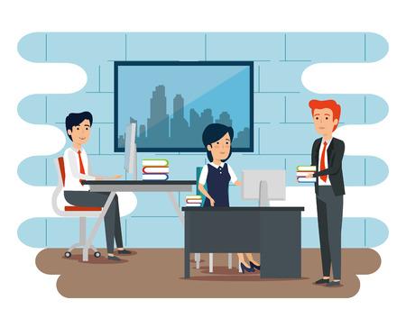 businessmen and businesswoman teamwork strategy plan vector illustration