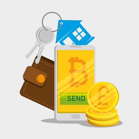 smartphone with bitcoin currency and wallet with house keys vector illustration Illustration