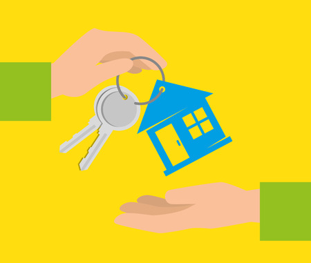 bitcoin currency with keys house exchange money vector illustration