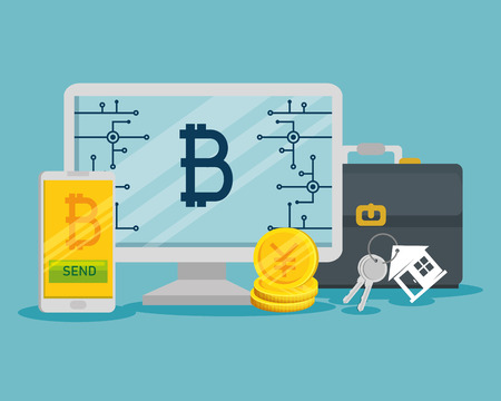 bitcoin virtual currency in the computer and smartphone vector illustration Illustration