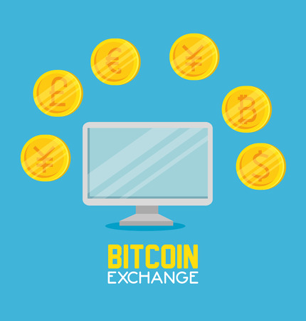 computer with bitcoin currency exchange financial vector illustration
