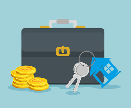 bitcoin virtual currency with briefcase and house keys vector illustration