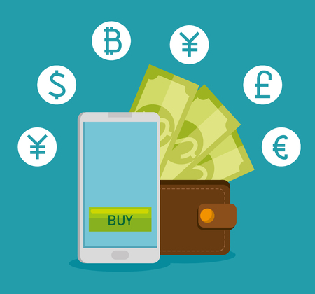 smartphone with virtual exchange financial currency vector illustration