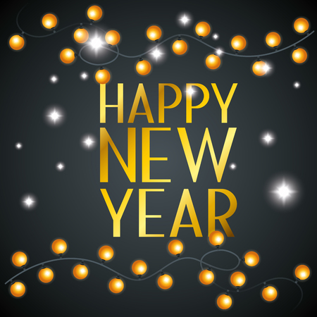 happy new year with decoration lights vector illustration