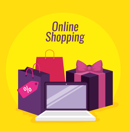 online shopping with laptop and packages with bags vector illustration