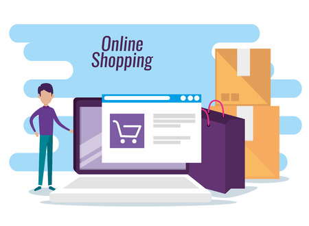man with online website market to shopping vector illustration