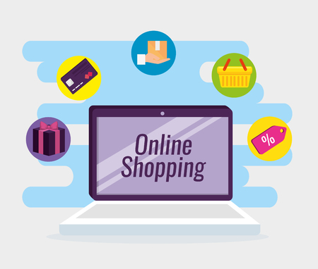 table shopping online with credit card vector illustration