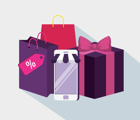 smartphone to shopping online with bag and present vector illustration