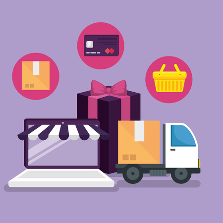 online market with smartphone to shopping and delivery vector illustration