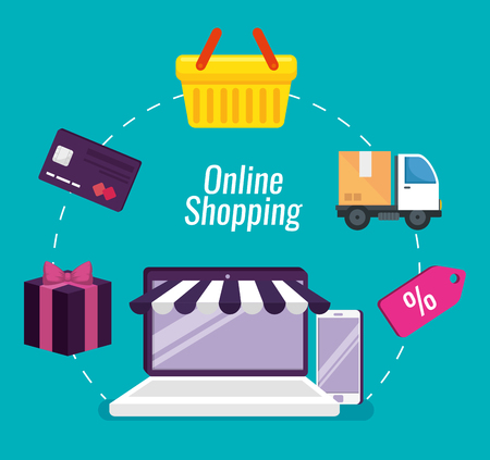 online shopping with laptop and smartphone technology vector illustration
