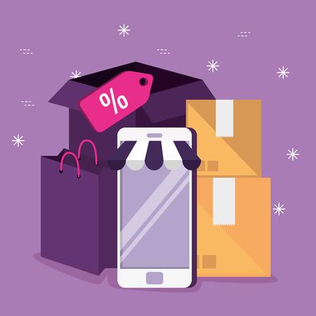 Mercado de compras en línea con ilustración de vector de tecnología de teléfono inteligente