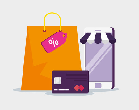 smartphone ecommerce with credit card and bag vector illustration Illustration