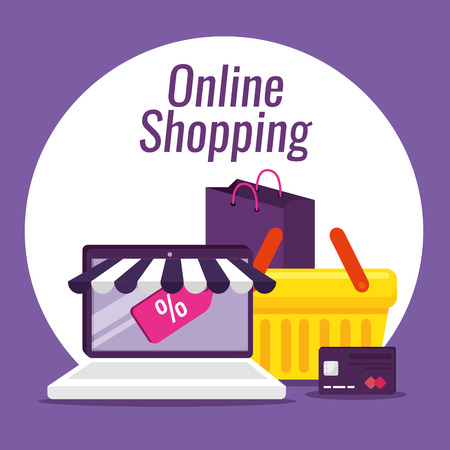 laptop ecommerce with credit card and basket vector illustration