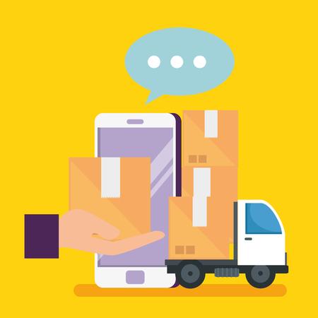 Compras en línea con teléfonos inteligentes y paquetes con ilustración de vector de entrega Ilustración de vector