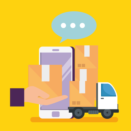 shopping online con smartphone e pacchi con illustrazione vettoriale di consegna Vettoriali