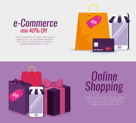 set smartphone technology with credit card and bags vector illustration Illustration