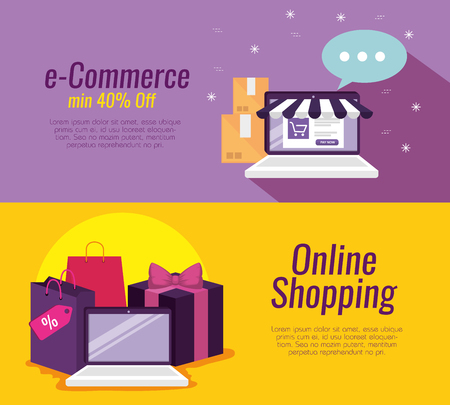 set laptop technology to shopping online and packages vector illustration