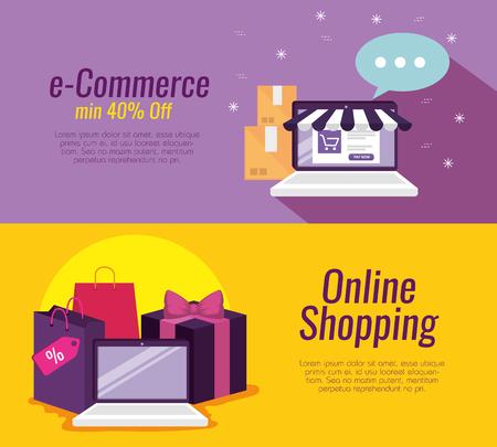 Stellen Sie die Laptop-Technologie auf Online-Shopping ein und verpacken Sie Vektorgrafiken